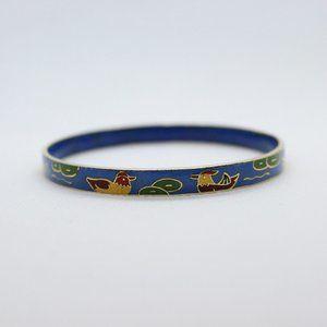 Jewelry - Gold Tone Enamel Duck Bangle Bracelet Blue Water